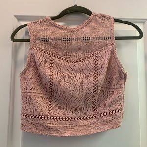 Dusty Rose lace Croo Top